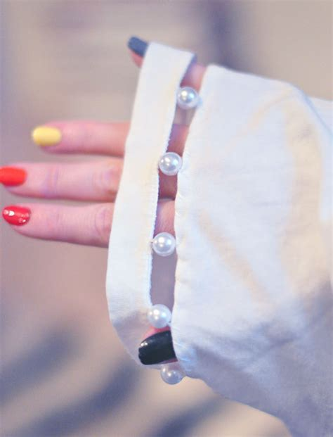 diy cut out t shirt with pearl neck sleeves maegan