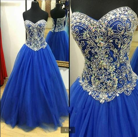 pattern for lace up back dress royal blue crystals prom dresses ball gown sweetheart