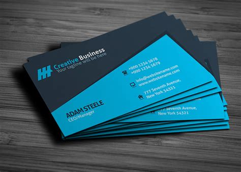 blue business card template blue creative business card template graphic