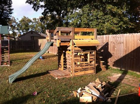 pallet swing set kids playhouse from wooden pallets pallet wood projects