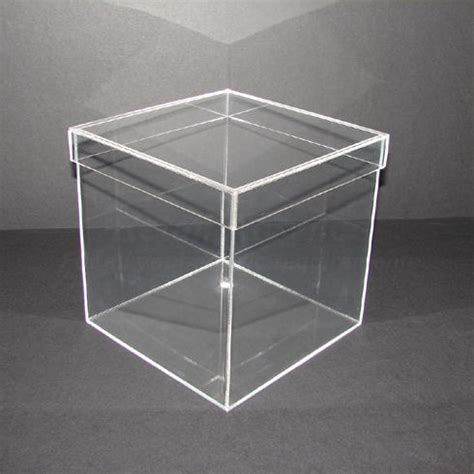 40cm clear acrylic cube with lid