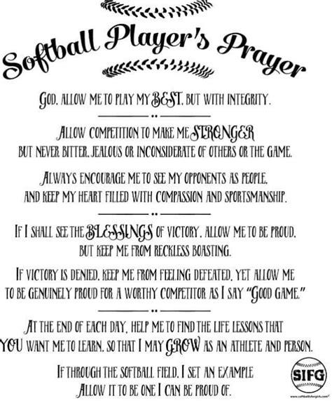 printable softball quotes a softball players prayer discount softball pitching