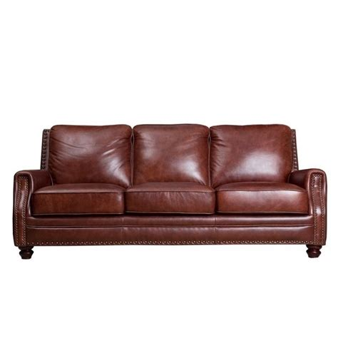 abbyson recliner abbyson living bel air leather sofa in brown sk 8040 cst 3