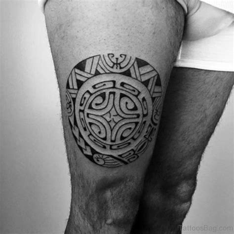 round tribal tattoos 53 classic tribal tattoos on thigh
