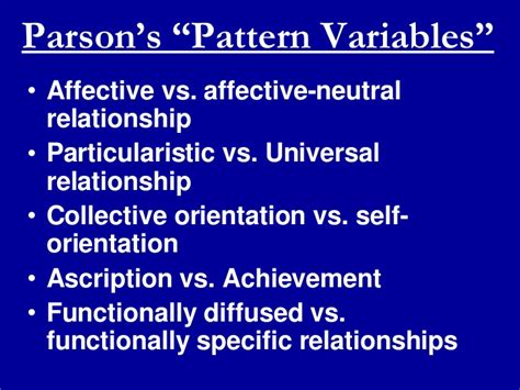 pattern variables nach parsons modernization theory