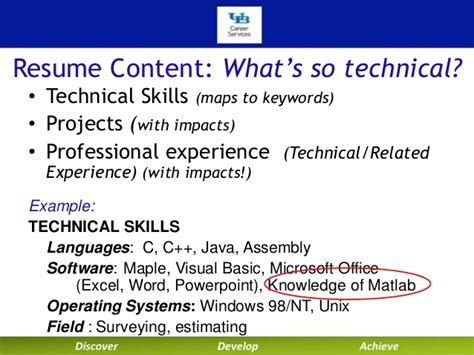 Resume Skills Word Excel Powerpoint Writing Your Technical Resume