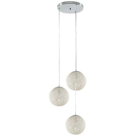 lustre 3 boules baya lustre suspension 3 boules rotin 216 20cm blanches