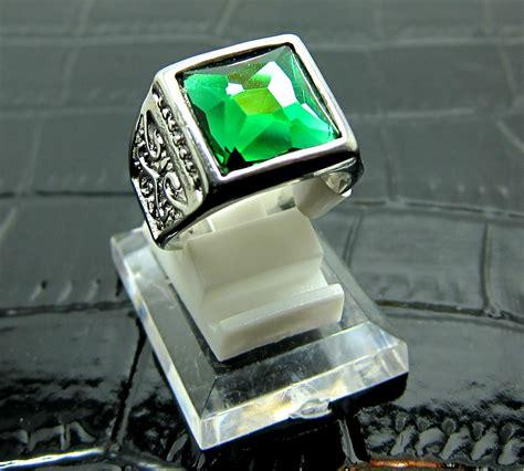 jual cincin titanium import silver pria cowok hijau