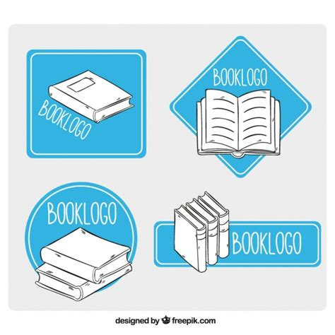 logo shapes book books logos with blue geometric shapes vector free