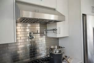 stainless steel tiles for kitchen backsplash pictures of the hgtv smart home 2015 kitchen hgtv smart