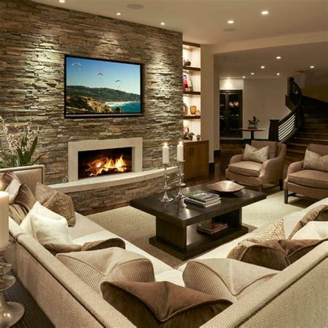 Living Room Tv Area Design Decorare La Parete Tv Con Le Pietre 20 Idee