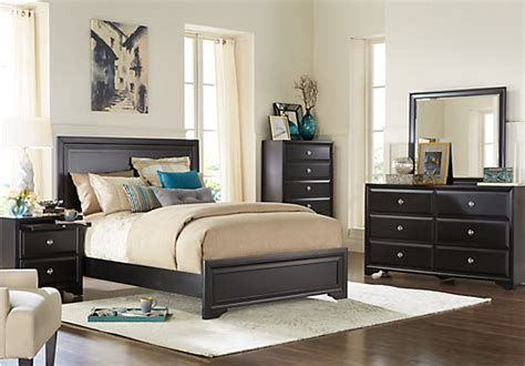 7 pc bedroom set belcourt black 7 pc king panel bedroom contemporary