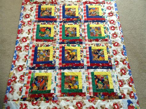 fashioned log cabin teddy quilt by adorablekidsquilts