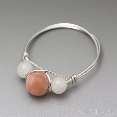 wire and bead rings sunstone faceted moonstone sterling silver wire wrapped