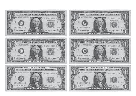 Printable Money Template by 1 Dollar Banknote Printable Template Free Printable