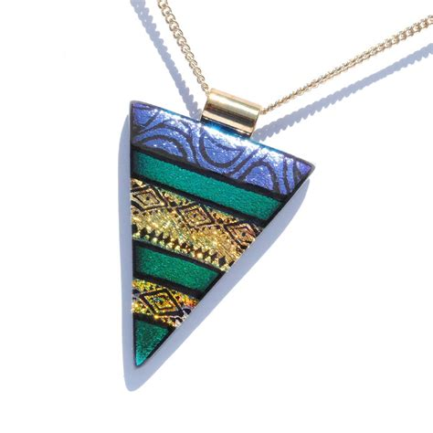 dichroic glass dichroic glass pendant large fused glass jewelry original