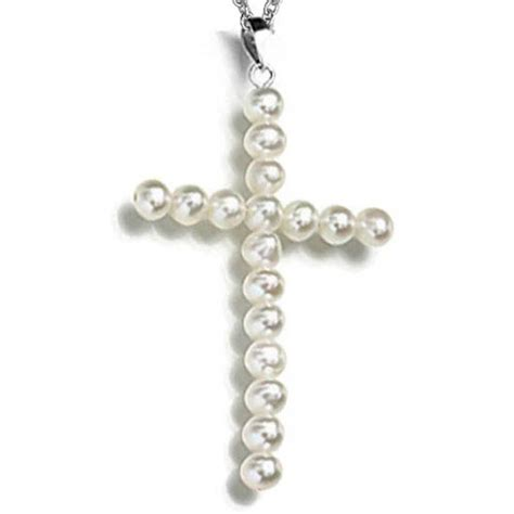 sterling silver freshwater pearl cross necklace 18in