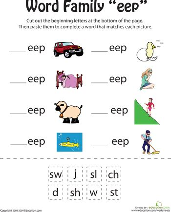 learn rhyming with word family worksheets | education.com