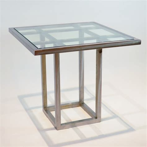 stainless steel and glass square dining table