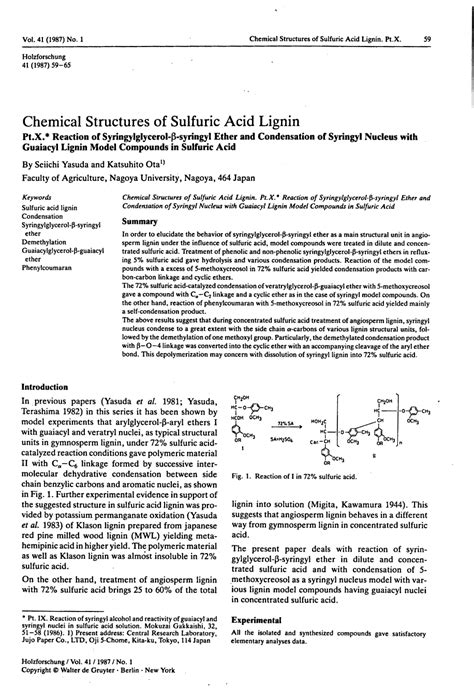 biology research paper exle chemical structures of sulfuric acid lignin pt x