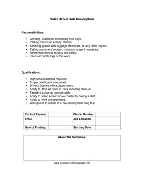 Valet Attendant Description by Valet Driver Description Template