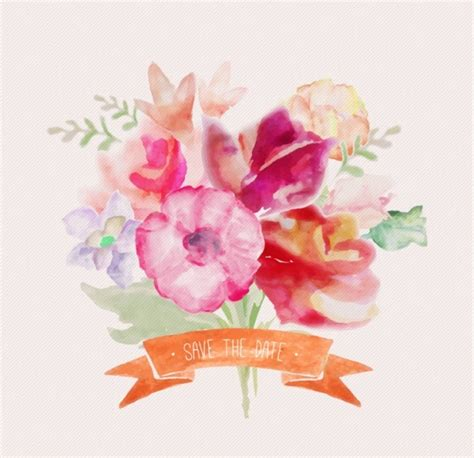 free vector watercolor flowers watercolor flowers with ribbon vectors free vector in
