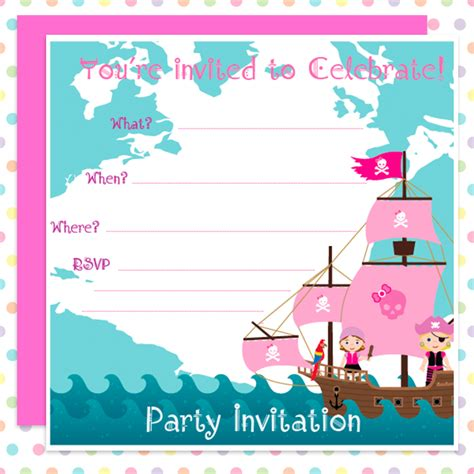 Where Can I Buy A Pink Gift Card - pink pirates party invites girls can be pirates too