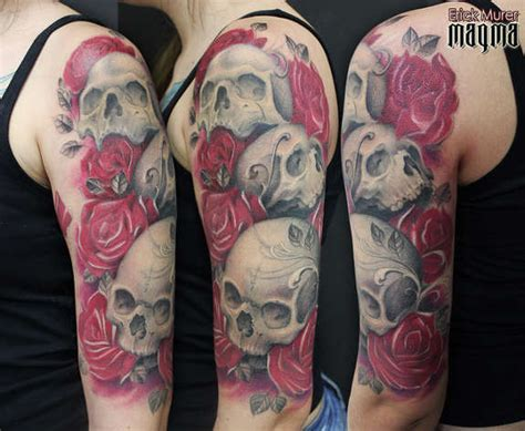 rose and skull tattoo sleeves 31 supreme skull tattoos gun