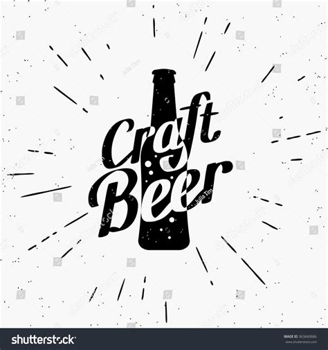 craft beer black white sticker logo stock vector 393749374 craft beer black white label bottle stock vector 363660686