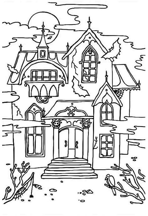 halloween coloring pages of a haunted house free printable haunted house coloring pages for kids