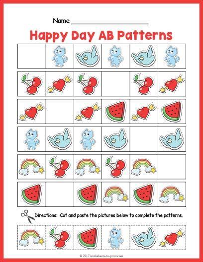 ab pattern words happy day ab pattern worksheet