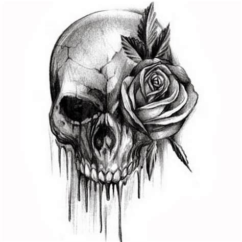 skull and black rose tattoo 40 black and white designs