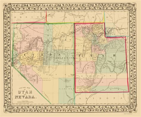 utah labeled map old state maps nevada utah counties nv ut by