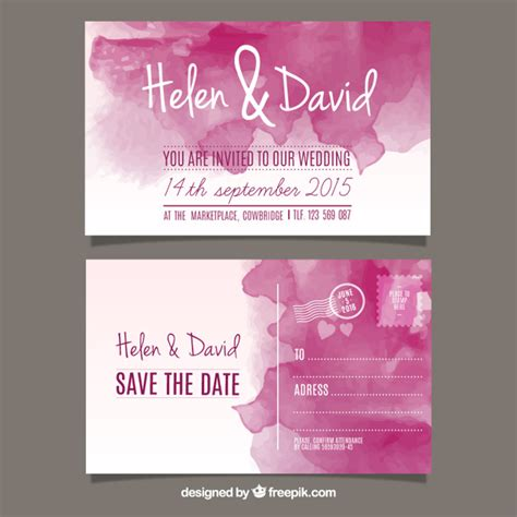 Wedding Invitation Card Style by Watercolor Wedding Invitation In Post Card Style Vector