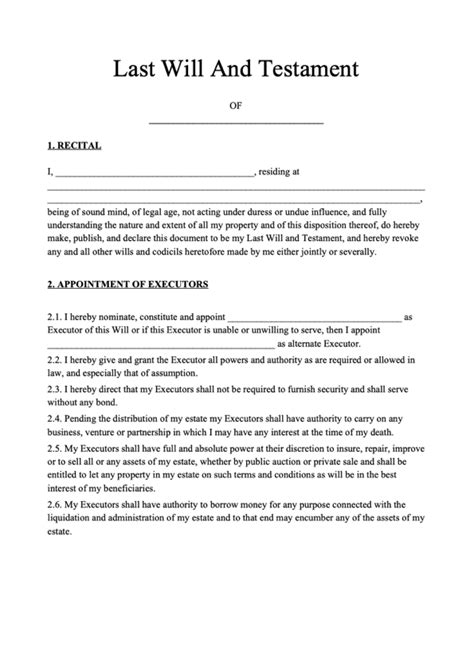 Last Will and Testament Form | Free Last Will Template