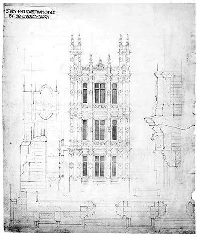 Architectural design for highclere castle study of elizabethan style
