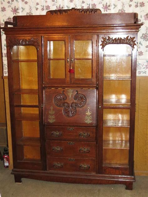 1800 S Antique Drop Front Secretary Desk Triple Bookcase Antique Drop Front Desk With Bookcase