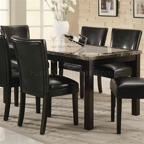 granite dining table set black finish rectangular faux marble top modern 7pc dining set
