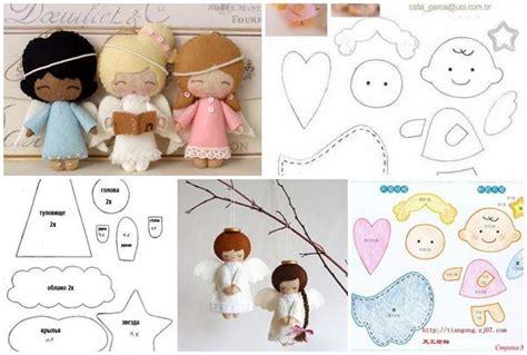 moldes y patrones modelos para hacer angelitos de fieltro