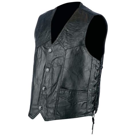 leather biker vest mens rock design genuine hog leather biker vest