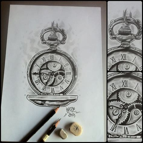 old clock tattoo clock with mechanic pencil drawing by blaze