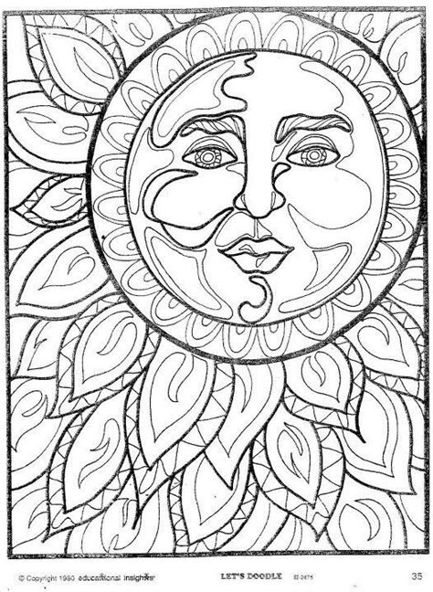 abstract sun coloring page sun moon coloring pages lineart sun and moon and stars