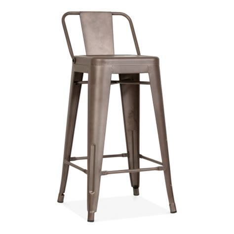 steel bar stools uk tolix style metal bar stool with low back rest rustic 65cm