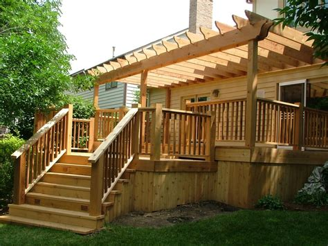 Hand Crafted Custom Cedar Deck With Pergola By Lee Custom Decks With Pergolas