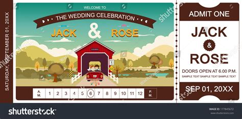 cover bridge wedding invitation ticket template vector