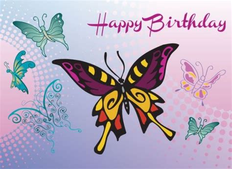 butterfly birthday card template butterfly birthday card vector ai pdf free graphics
