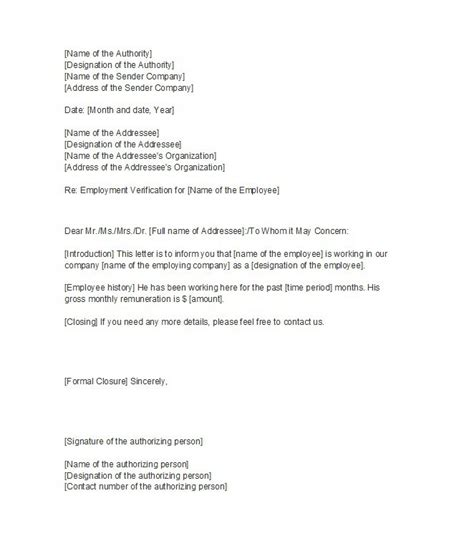 Proof Letter 40 Proof Of Employment Letters Verification Forms Templates Sles Free Template Downloads