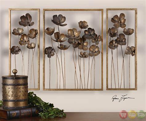 Home Design Studio Bassett set of 3 metal tulips traditional antiqued gold leaf wall