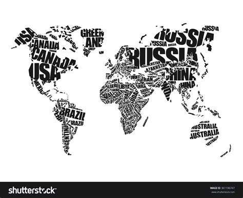 black and white map with country names continent clipart names pencil and in color continent