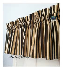 brown stripe window valance curtain modern